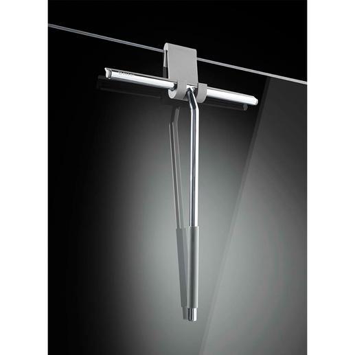 Der flexible Silikonhaken (mitgeliefert) verhindert Kratzer an Glas- und Kunststoffwänden.