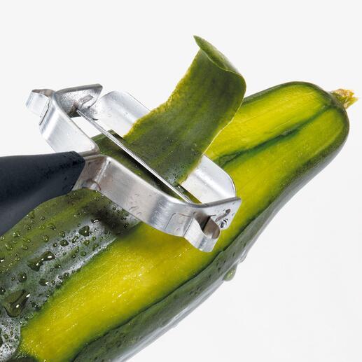 Sehr beweglich, passt sich die Klinge den unterschiedlichsten Gemüseformen an.