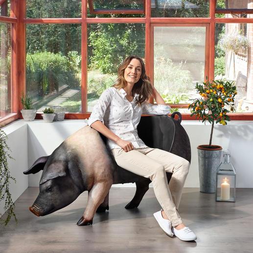 Sitz-Schwein - Drinnen und draußen spektakulär – als Dekoration, Ablage oder Sitz mit Witz.
