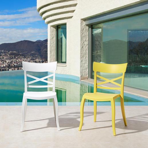 Design-Stuhl in-/outdoor Stylish, wohnlich, wetterfest – der perfekte Stuhl für drinnen und draußen.