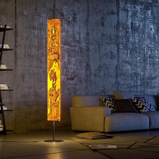Design-Echtholz-Leuchte Beleuchtung der Extraklasse: die eindrucksvolle LED-Stehleuchte aus laminiertem Olivesche-Holz. Jede ein Unikat.