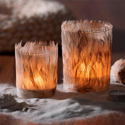 Feder-Windlicht, 2er-Set - Sanft durchscheinend, für wunderbar weiches, stimmungsvolles Licht.