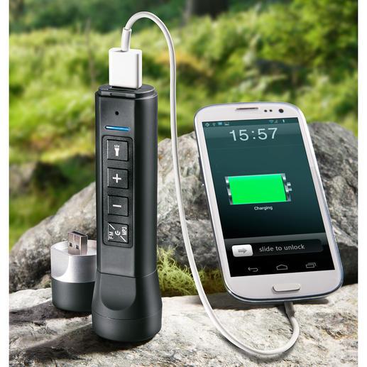 3-in-1 Elektro-Multitool - Lautsprecher, Taschenlampe und Powerbank in einem handlichen Tool. Kompakt. Und leicht.