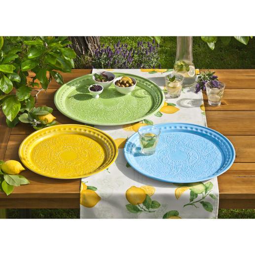 Serviertablett Keramik-Optik, 3er-Set - Servieren, dekorieren, arrangieren – mit dem Charme des Südens.