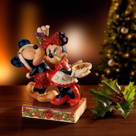 Disney Traditional Weihnachtsfiguren - Weihnacht mit Mickey und Minnie – ein handbemaltes Folk-Art-Objekt des prämierten Künstlers Jim Shore.