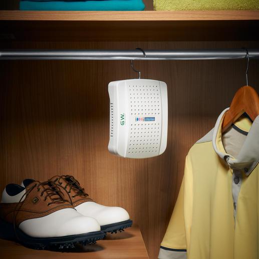 Kompakter Luftentfeuchter mit Indikator - Schützt Kleidung, Schuhe, Sportausrüstung, ... vor Feuchtigkeit und Schimmel.