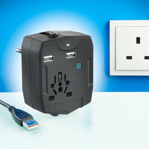 World Travel Adapter inkl. Powerbank - Einer für alles: Im Reise-Adapter sind alle international üblichen Stecker und eine USB-Ladestation untergebracht.