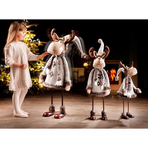 """Tanzender Elch """"Rudi"""" Geschmackvoll gekleidet und passend zu jedem Interieur. In 3 beeindruckenden Größen."""