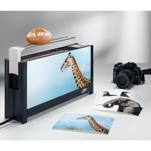 Auf www.mein-toaster.de laden Sie Ihr Wunschmotiv hoch und können Ihren Toaster so individuell gestalten.