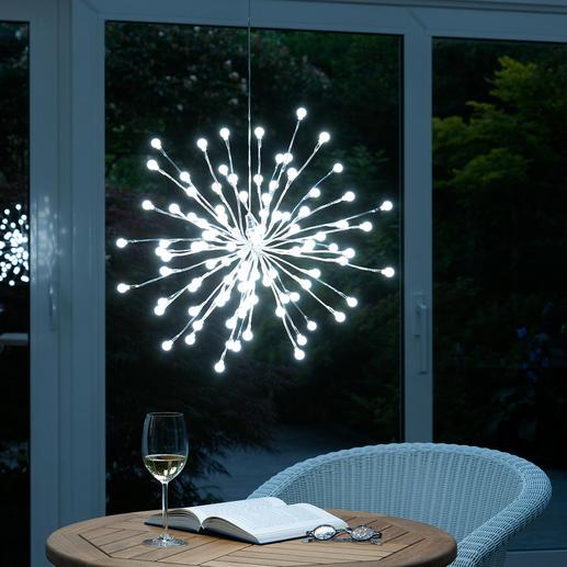 Kugellichter-Leuchte - Silbrige Äste, individuell formbar - für drinnen und draußen.