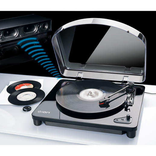 AirLP Bluetooth-/USB-Plattenspieler - Endlich: kabelloser Musikgenuss von alten und neuen Vinylschätzen. Überall.