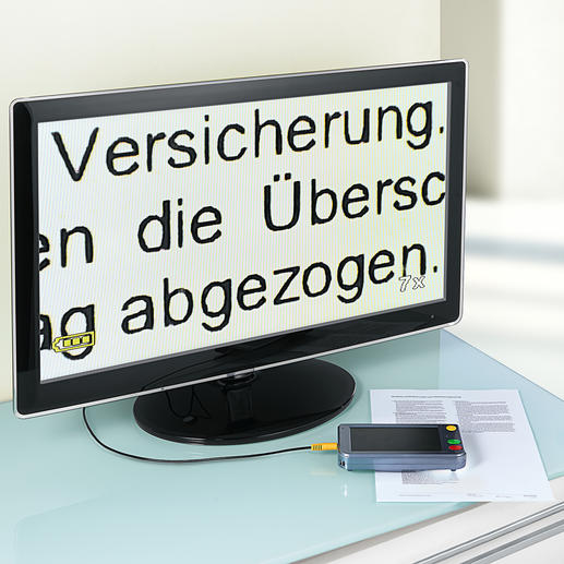 Zum Betrachten der Dinge auf Ihrem TV-Bildschirm mit bis zu 500facher Vergrößerung schließen Sie einfach das mitgelieferte 3-m-Videokabel mit 3,5-mm-Klinkenbuchse an den Fernseher an.