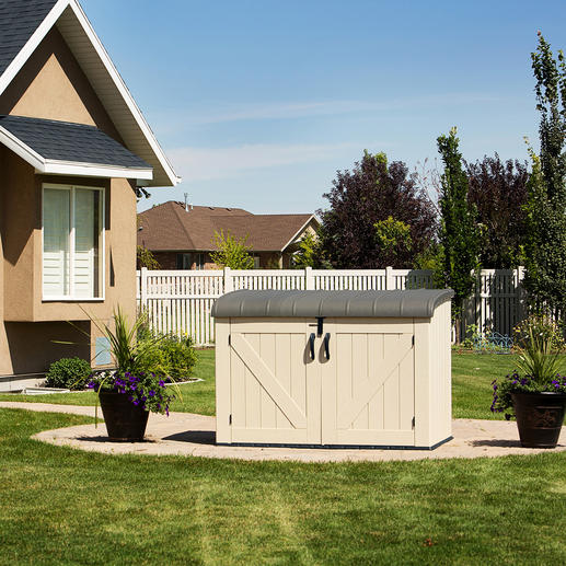 Großraum-Mülltonnenbox - Der elegante Platz für 3 große Mülltonnen. Oder Fahrräder, Gartengeräte, Poolzubehör, ...