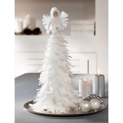 Eisfee - Märchenhafte Schönheit: die Eisfee aus schneeweißen Federn. Flaumzart. Romantisch. Effektvoll mit Glitzer betupft.
