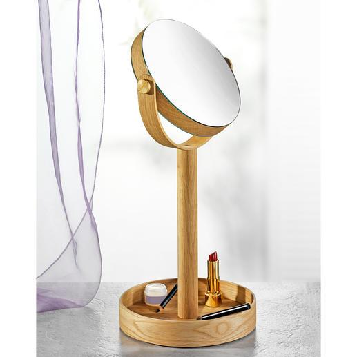 Kosmetikspiegel Close Up - Wende-Kosmetikspiegel mit elegantem Eichenholz-Rahmen und extra großem Ablagefuß.