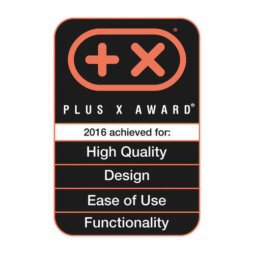 """""""Plus-X-Award"""" für High Quality, Design, Bedienkomfort und Funktionalität."""
