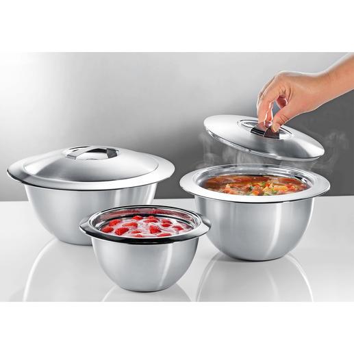 Edelstahl-Thermoschüsseln mit Deckel - Doppelwandiger Edelstahl hält Ihre Speisen länger heiß oder kalt. In der Küche, auf dem Buffet und Tisch.