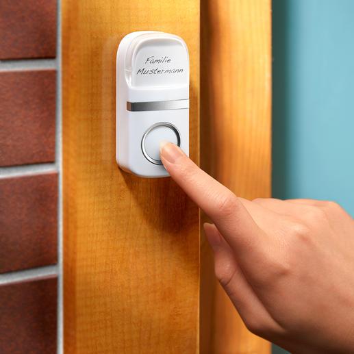 Funktioniert ohne Batterie, die mechanische Kraft des Tastendrucks auf die Klingel wird in Strom umgewandelt.