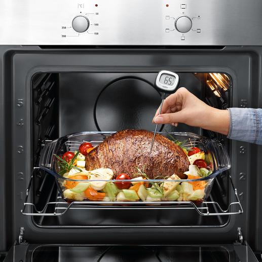 Küchenthermometer mit kippbarem Display Schneller, sensibler und viel bequemer ablesbar. Mit kippbarem Display, ultrafeiner Messspitze und präziser 0,1 °C-Teilung.
