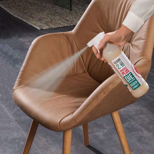 Clean2go® Protect Plus - Fleck- und Nässeschutz neuester Stand. Keine Lösungsmittel und schädliche Aerosole. Kein lästiges Einbügeln oder Einwaschen.