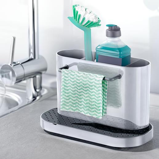 Spülbecken-Organizer 3fach unterteilt (statt oft nur 2fach). Zum hygienischen Reinigen komplett zerlegbar.