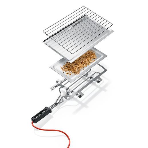 Endlich ohne großen Aufwand Räuchern wie die Profis. Einfach Stecker in die Steckdose, Räucherspäne einfüllen und das Räuchergut bei idealen, konstanten Temperaturen räuchern.