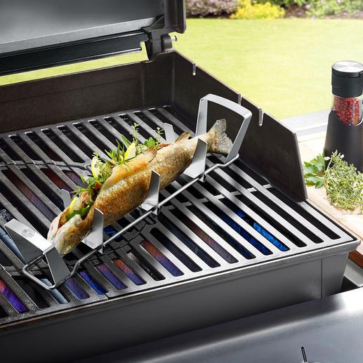 Fisch zubereiten, einfach wie nie. Fisch in die Halterungen legen, mit Kräutern, Gewürzen,… füllen und ganz nach Wunsch im Backofen, auf dem Grill, im Wasserbad, … garen.