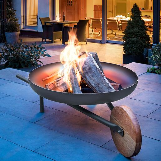 """Feuerschale mit Grillfunktion """"Barrow"""" Zünftiges Lagerfeuer. 81(!) cm-Grill. Und sogar bequem zu kutschieren. Die edle Feuerstelle im Schubkarren-Design."""
