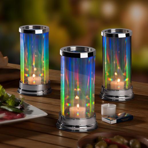 Regenbogen-Windlicht Der Zauber des Regenbogens – von Ihnen entfacht. Das patentierte Glas-Windlicht mit faszinierend elegantem Lichtspiel.