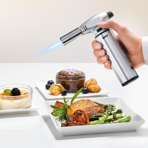 Profi-Flambierbrenner Karamellisiert Zucker einfach auf Knopfdruck. Ideal auch zum Enthäuten von Paprika und Tomaten.