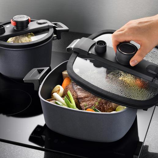 Active Lite Kochgeschirr - Patentierte Deckel-Technologie spart bis zu 50 % Kochzeit. Und bis zu 70 % Energie.
