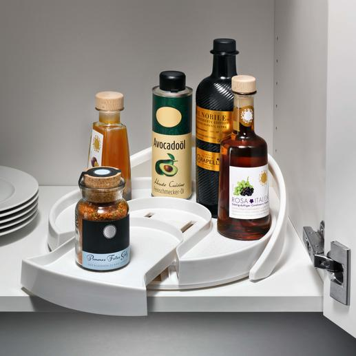 Karussell-Tablett Für Öl, Essig, Sauce, Würze, ... Mit einem Dreh die richtige Flasche zur Hand.