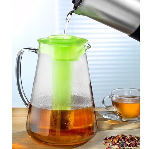 Einfach Blatt- oder Früchtetee in den mitgelieferten Siebeinsatz geben, mit heißem Wasser aufgießen und nach Belieben ziehen lassen.