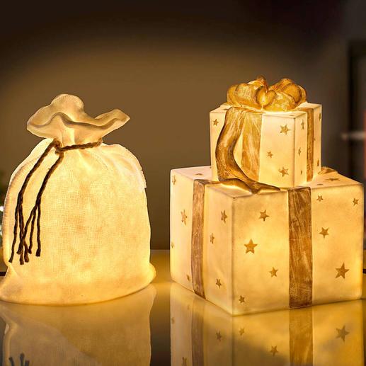 Weihnachtsbeutelleuchte oder Geschenkeleuchte Transluzente Steinoptik verbreitet wunderbar warmes Licht. Für drinnen und draußen.