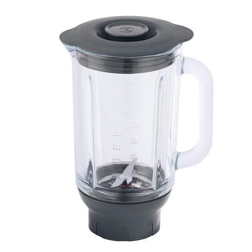 1,6-l-Aufsatz aus hitzefestem Glas mit kraftvollem MultiZone-Messerwerk und Deckel.