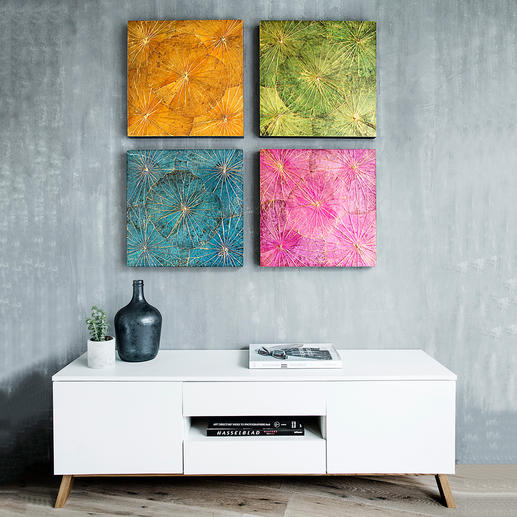 Lotosblätterkunst Jedes Wandbild handgefertigt. In trendigen Farben und goldschimmernd überhaucht.