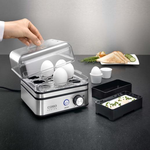 Elektronischer Eierkocher Kocht bis zu 8 Eier (statt oft nur 6) exakt nach Ihrem Wunsch. Ohne lästiges Wasserabmessen. Auch für pochierte Eier und Omeletts.