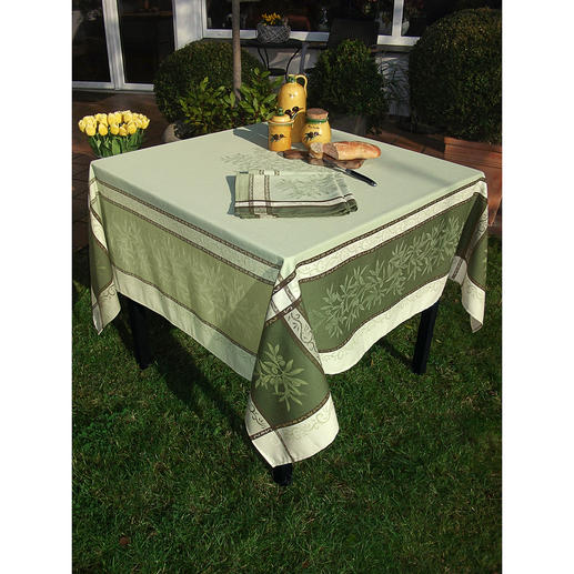 Gewebte Oliven-Tischwäsche Schönste Urlaubsstimmung für drinnen und draußen. Aus 100 % Baumwolle, strapazierfest und fleckgeschützt.