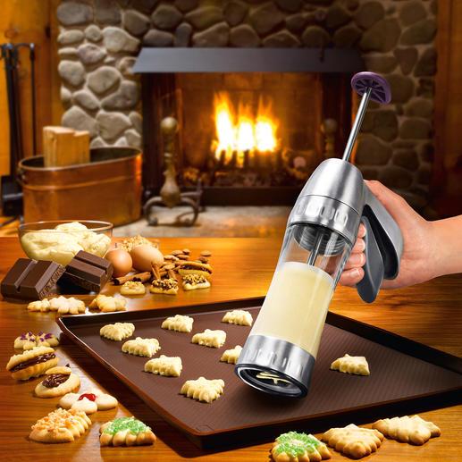 Kekspresse Cookie Pro™ - Jetzt gelingen Spritz- und Biskuitgebäck schnell und einfach wie nie. Mit 12 Formschablonen (statt oft nur 6-10).