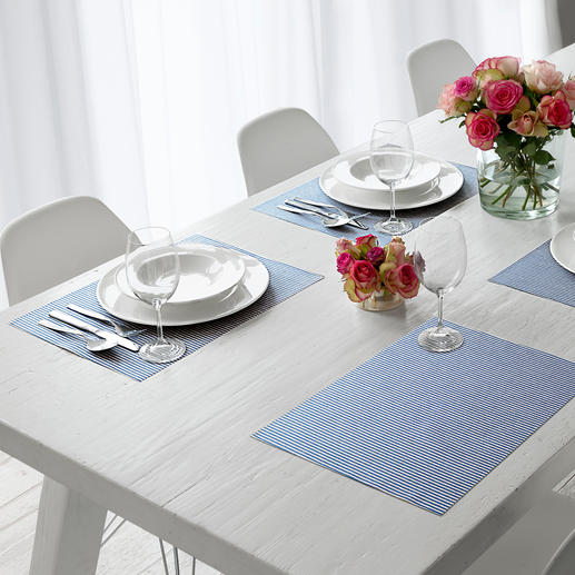 Baumwoll-Tischwäsche Lotoseffekt Soft, textil und doch einfach abwischbar.