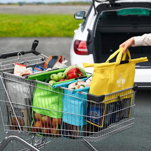 Trolley-Bags, 4er-Set - Praktisches Taschen-Set zum Einhängen in den Einkaufswagen.