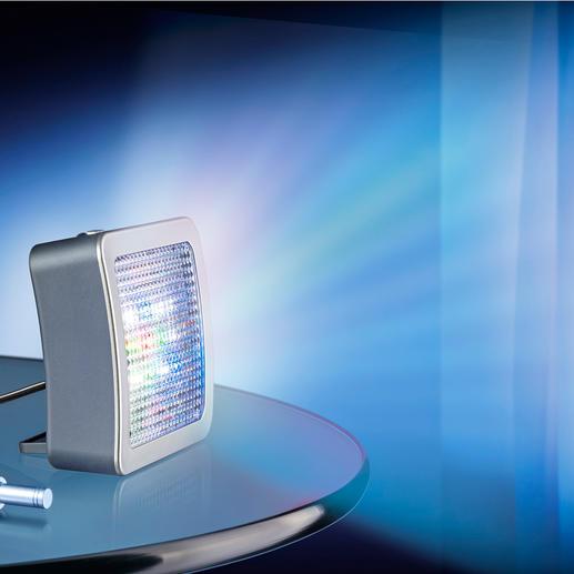 TV-Simulator Safe@Home 2.0 - Jetzt noch besser: Mit extrahellen LEDs und 4 (statt 3) verschiedenen Lichtmodi. Und Nachtlicht. Und verstellbarem Standfuß ...