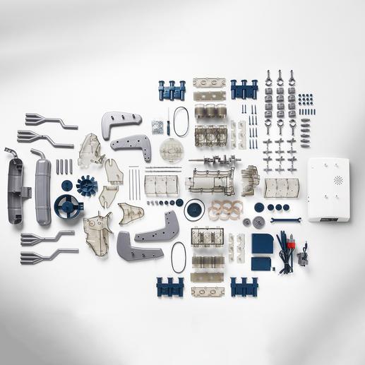 Alle 290 Kunststoffteile sind sorgfältig geformt und werden zusammengesteckt oder verschraubt.