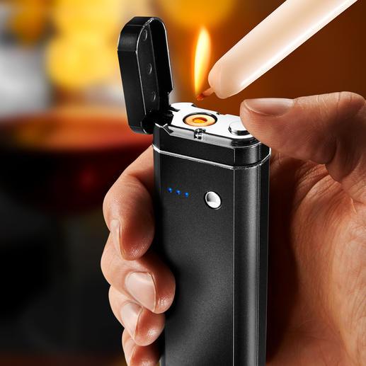 5-in-1 Multi-Tool Powerbank, Taschenlampe, SOS-Blinklicht, Hygiene- und Geldscheinprüfer und flammenloses Elektro-Feuerzeug in einem.