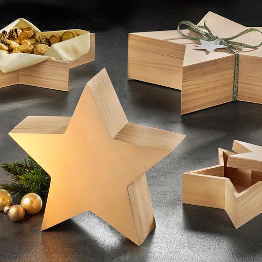 Sternschachteln, 4er Set Phantastisch vielseitig: Die Sterne aus Paulowinia-Holz.