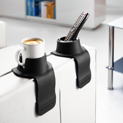 CouchCoaster® Genial praktisch und komfortabel: der Getränkehalter fürs Sofa. Hält Gläser, Tassen, Flaschen, ... sicher und griffbereit.