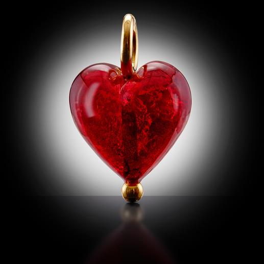 Murano-Herz-Anhänger oder Silberkette vergoldet Venezianische Pracht: schimmerndes Gold, eingefangen von einem edlen Herz aus Murano-Glas.