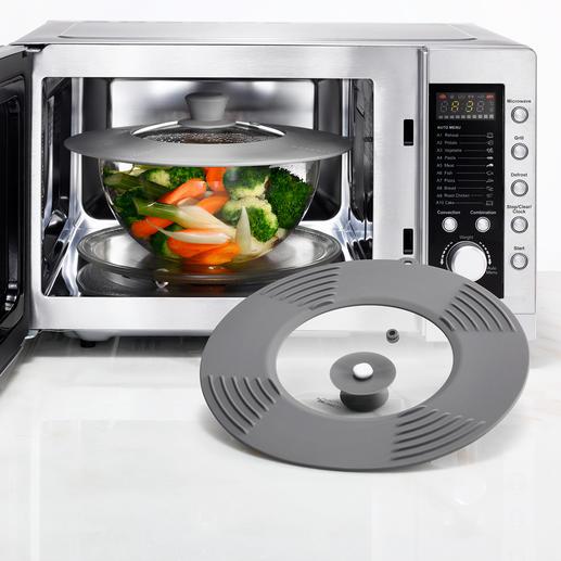 Dank Keramik- statt Stahlschraube ist der Deckel auch für den Einsatz in der Mikrowelle geeignet.