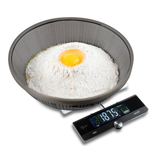 Küchenwaage mit ausziehbarem Display - Elegantes Edelstahl-/Glasdesign mit ausziehbarem Display, 10 kg Tragkraft und präzisen 1-g-Schritten.