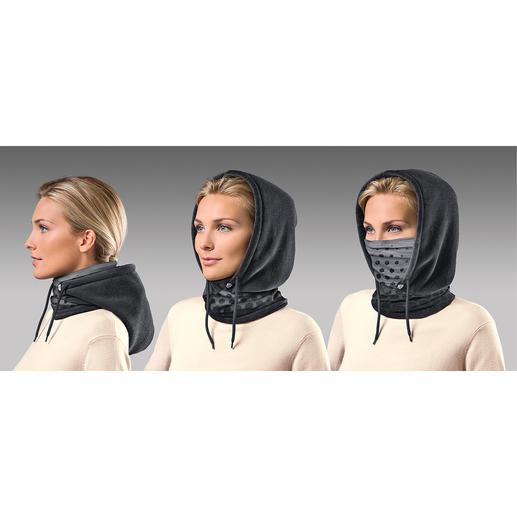 Einfach überstülpen und schon haben Sie einen behaglichen Schal. Bei Bedarf schützt die kuschelige Fleece-Kapuze Kopf und Ohren und mit hochgezogenem Microfaser-Einsatz sogar Mund und Nase.